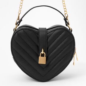Quilted Heart Crossbody Bag - Black,
