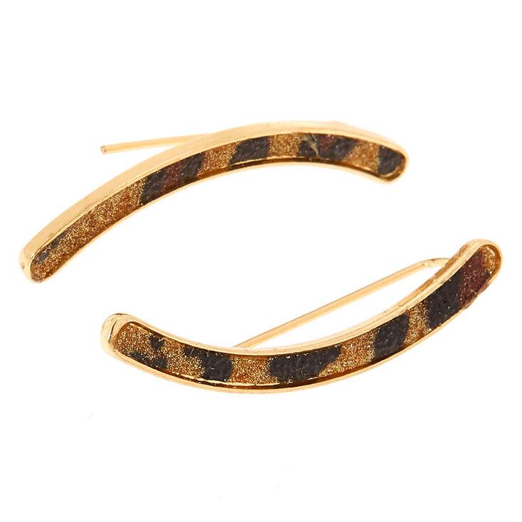 """Gold 1.5"""" Glitter Leopard Print Ear Crawler Earrings,"""