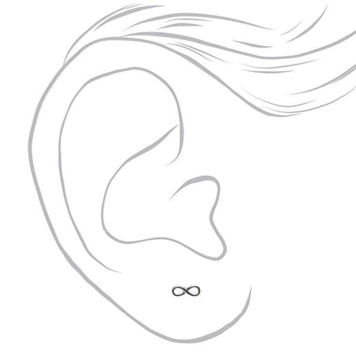 Silver Tone Infinity Symbol Stud Earrings,