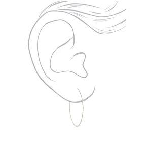 Silver 40MM Hammered Circle Hoop Earrings,