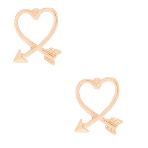 Gold Arrow Heart Stud Earrings,