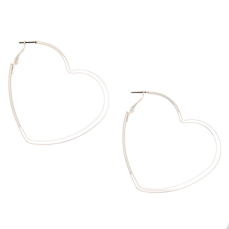 Silver 60MM Heart Hoop Earrings,