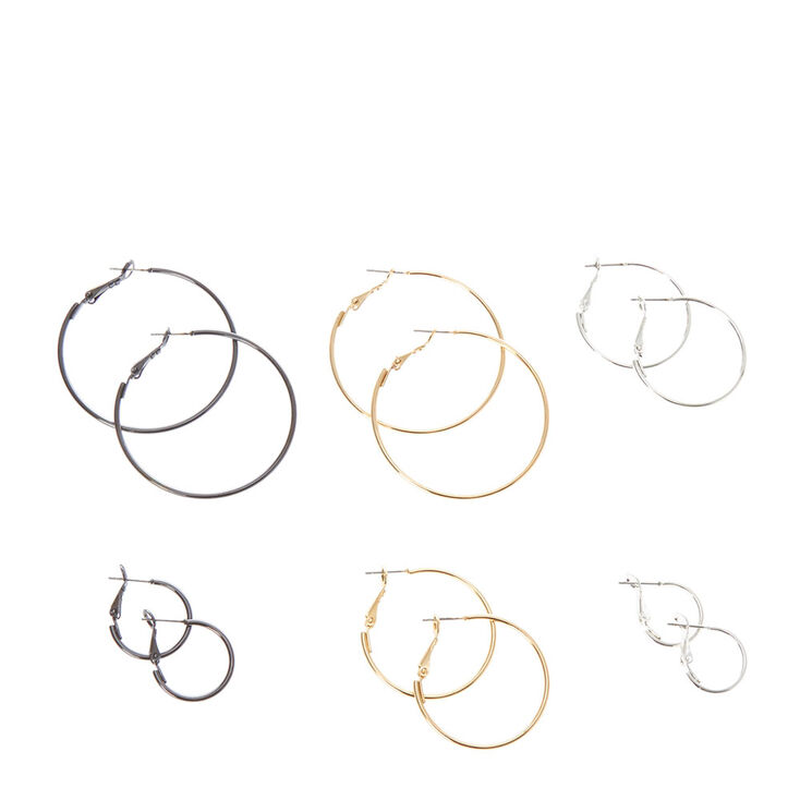 Silver, Gold & Hematite Hoop Earrings Set,