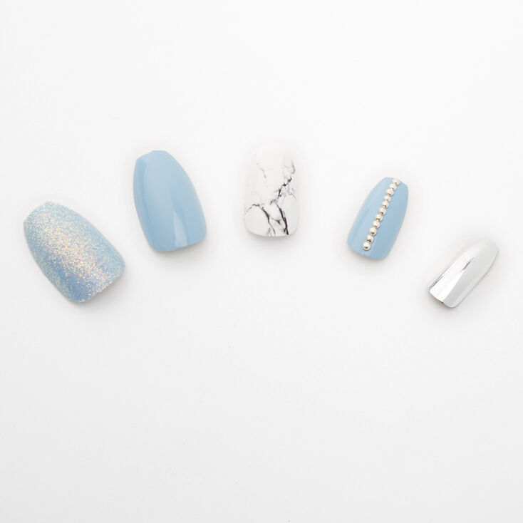 Mixed Marble Chrome Coffin Faux Nail Set - Blue, 24 Pack,