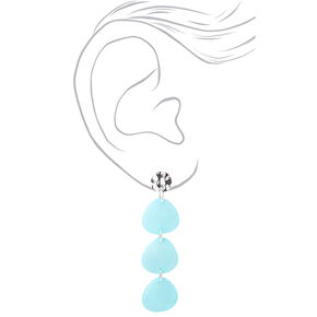 "Silver 2.5"" Triple Stone Drop Earrings - Mint,"