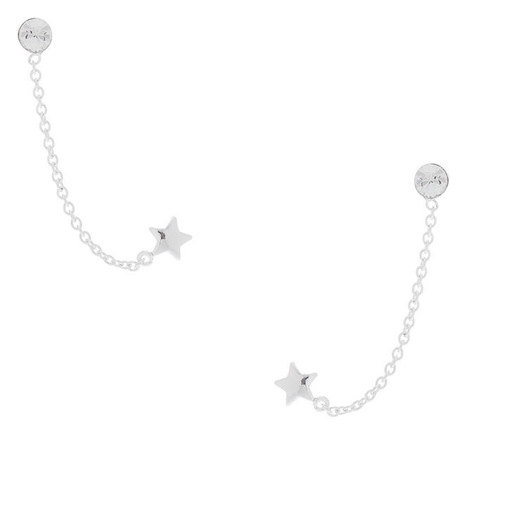 Sterling Silver Connector Chain Star Stud Earrings,