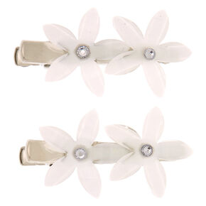 Glitter Crystal Flower Hair Clips - Ivory, 2 Pack,