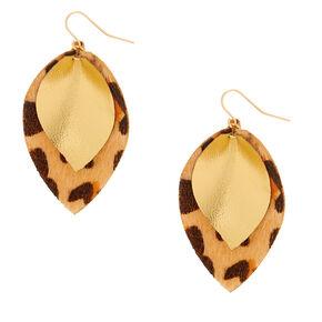 """Gold 2"""" Leopard Print Drop Earrings,"""