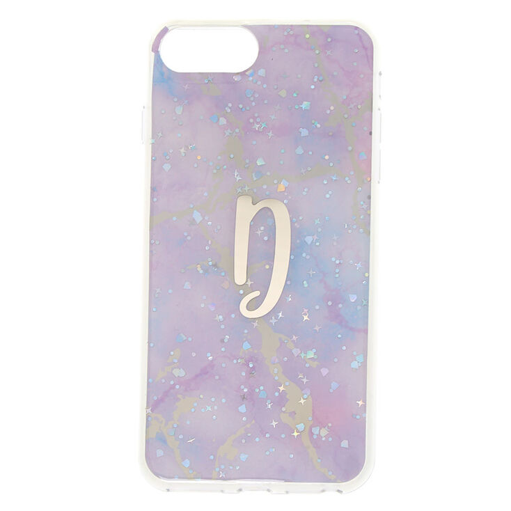 Lilac Marble Glitter D Initial Phone Case - Fits iPhone 6/7/8 Plus,