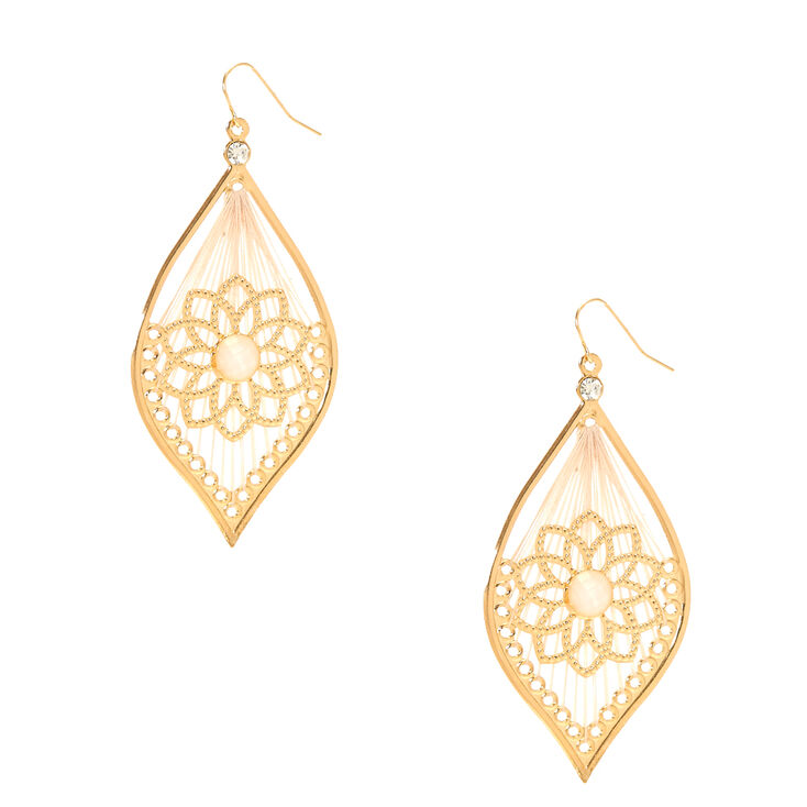 Gold Tone Floral & Ivory Yarn Dreamcatcher Drop Earrings,