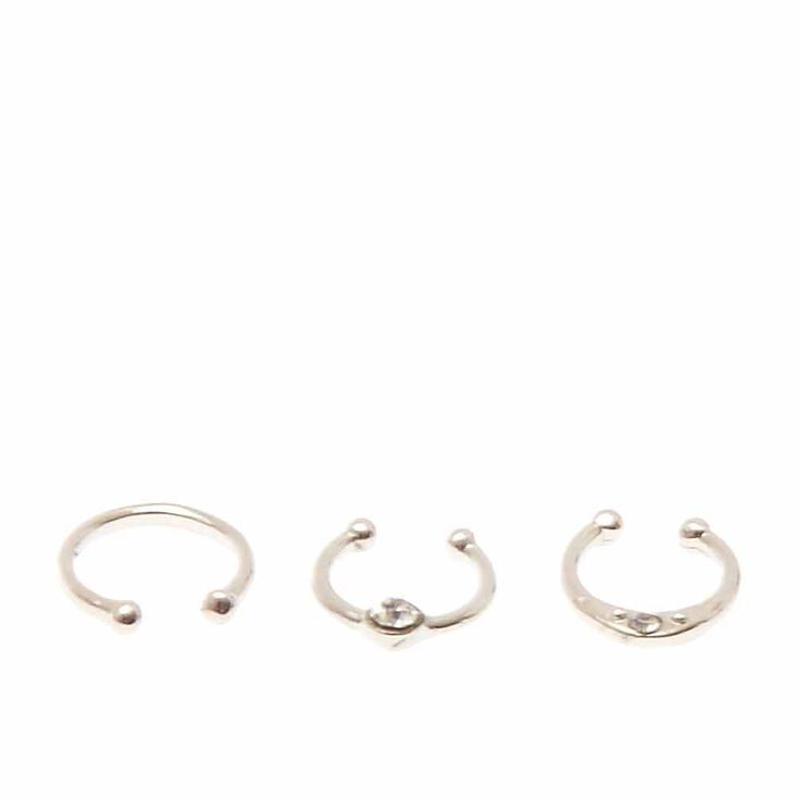 Silver Toned Faux Nose Hoops,