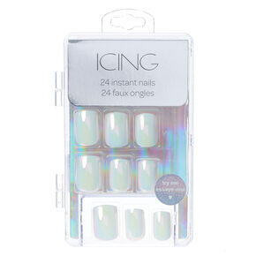 Iridescent White Instant Nails,