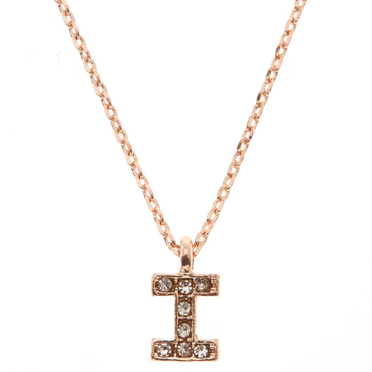 "Rose Gold Studded ""I"" Initial Necklace,"