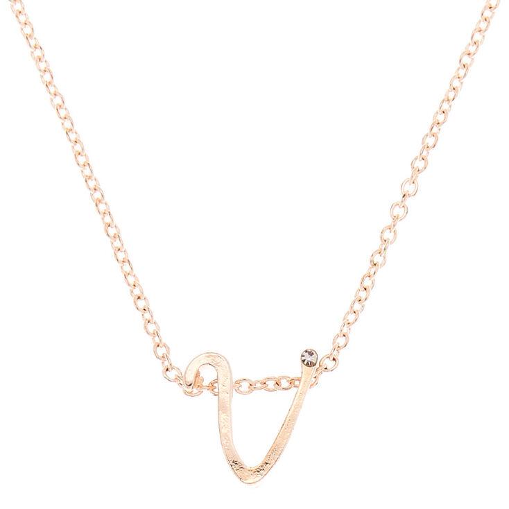 Rose Gold Cursive Initial Pendant Necklace - V,
