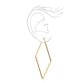 18kt Gold Plated Refined Rhombus Hoop Earrings,