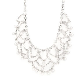 Rhinestone Swag & Pearl Dangle Statement Necklace,