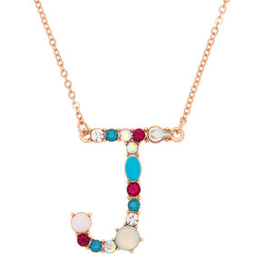 Embellished Long Initial Pendant Necklace - J,