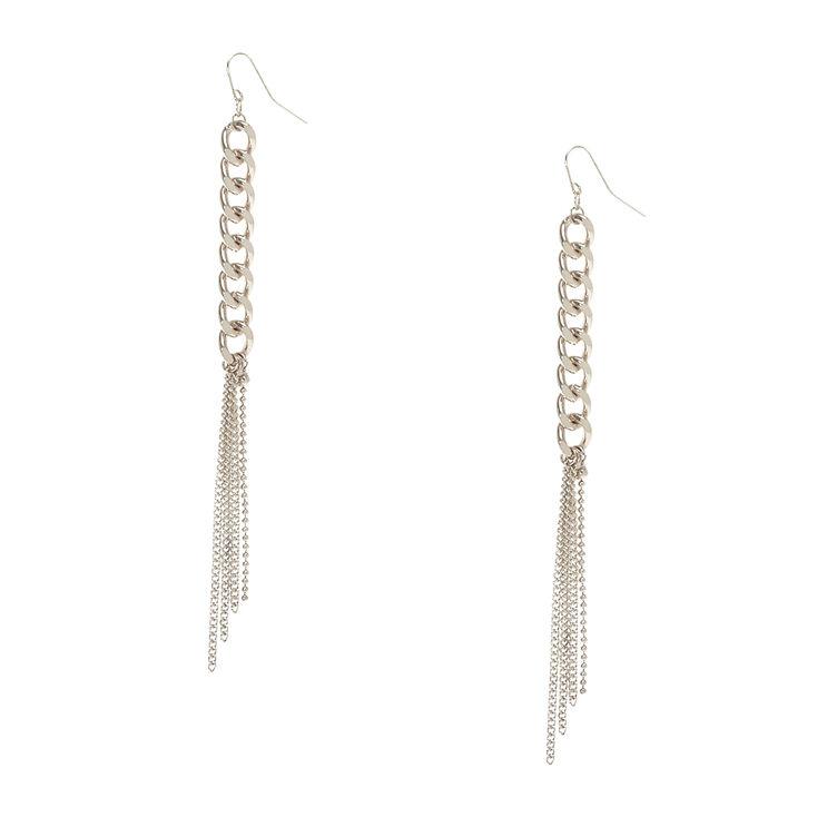 Silver Tone Chain Link Fringe Drop Earrings