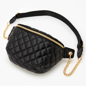 Quilted Fanny Pack with Gold Chain Belt - Black,