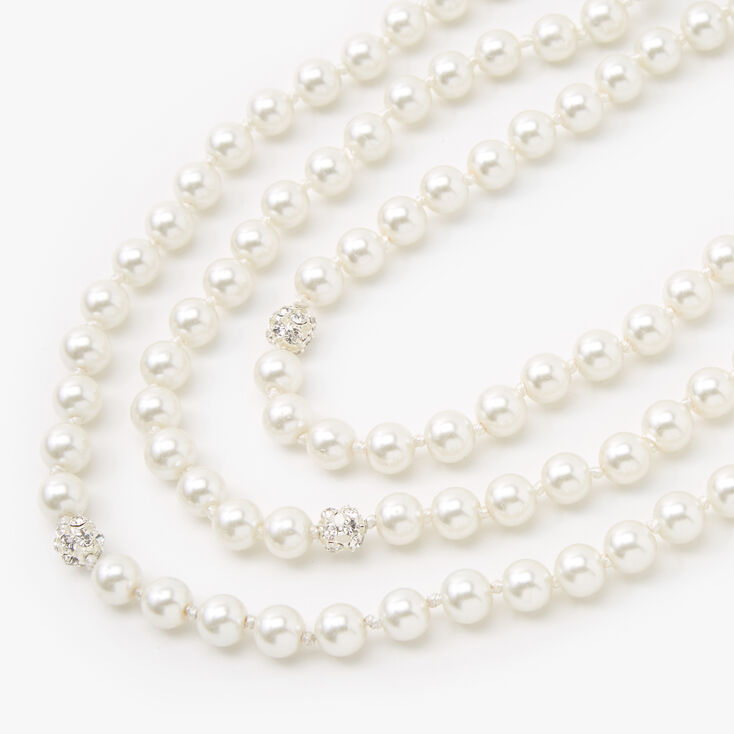 Pearl and Rhinestone Long Necklace,