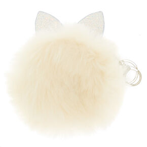 Faux Fur Cat Ears Coin Purse - White,