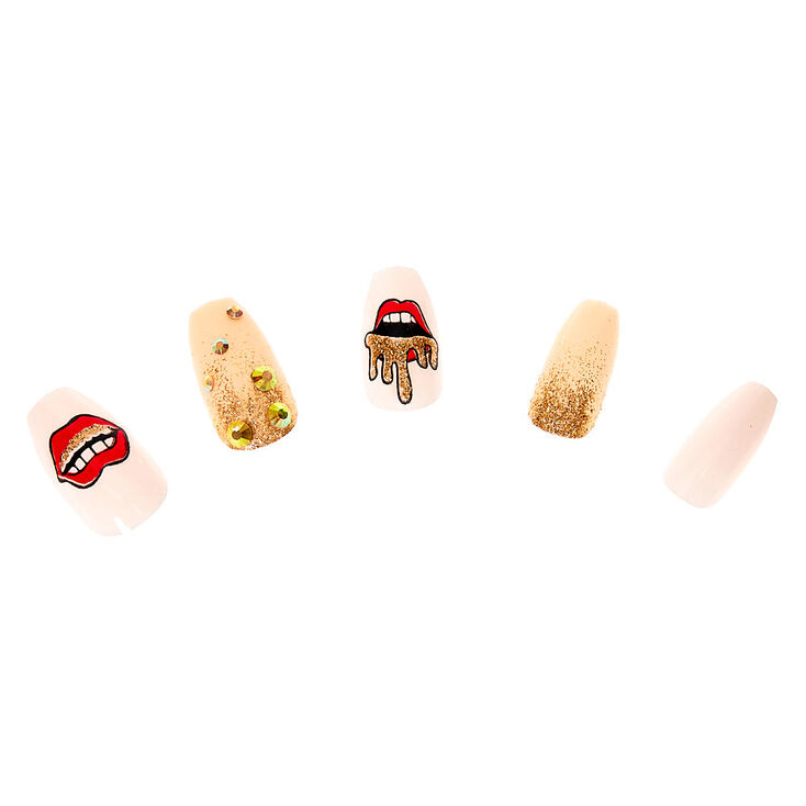 Golden Lips Coffin Faux Nail Set - 24 Pack,