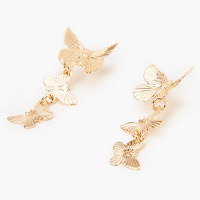 "Gold 1.5"" Butterfly Drop Earrings,"