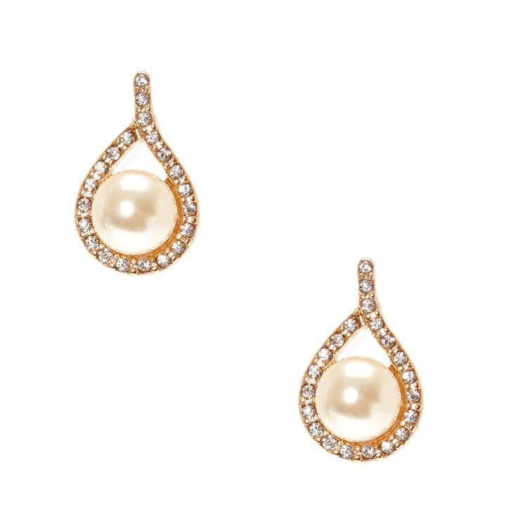 Ivory Faux Pearl Gold Tone Teardrop Framed Stud Earrings,