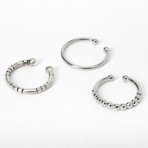 Silver Textured Faux Nose Rings - 3 Pack,