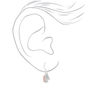 Sterling Silver Sherbert Unicorn Earrings - Pink, 3 Pack,