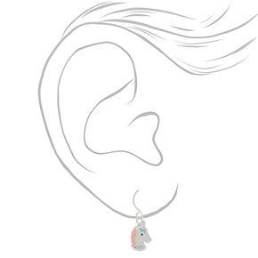 Sterling Silver Sherbet Unicorn Earrings - Pink, 3 Pack,