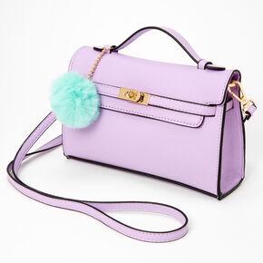 Pastel Pom Pom Crossbody Satchel - Lavender,