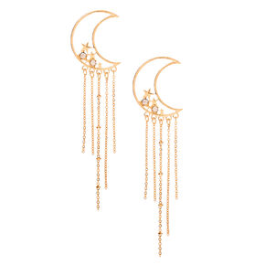 "Gold 4"" Moon Chain Drop Earrings,"