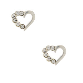 Sterling Silver Heart Stone Stud Earrings,