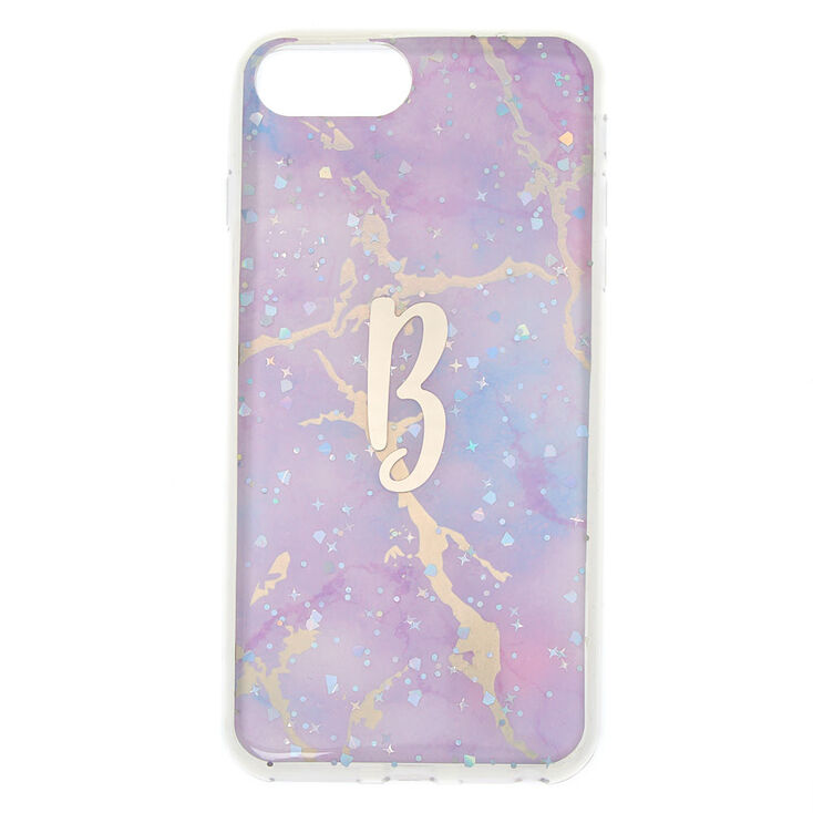Lilac Marble Glitter Initial Phone Case - B,