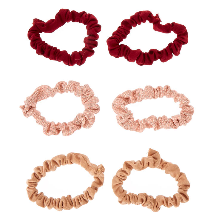 Pink Lurex & Burgundy Hair Scrunchies,