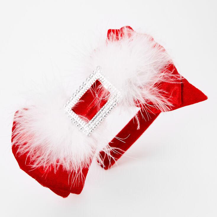 Santa Bow Feather Headband - Red,