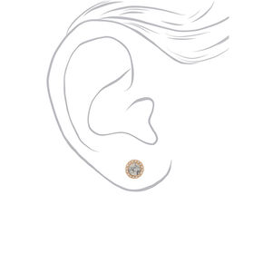 Gold Marbled Stud Earrings - White,