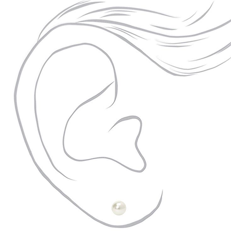 Sterling Silver 6MM Pearl Stud Earrings,