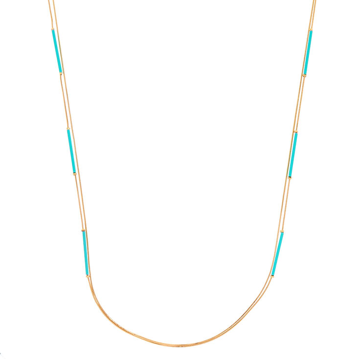 Gold Turquoise Bar Multi Strand Necklace,