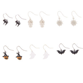 "Silver .5"" Halloween Mixed Drop Earrings - 6 Pack,"
