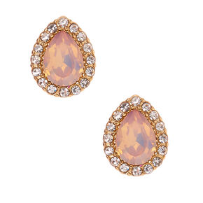Gold Embellished Teardrop Stud Earrings - Pink,