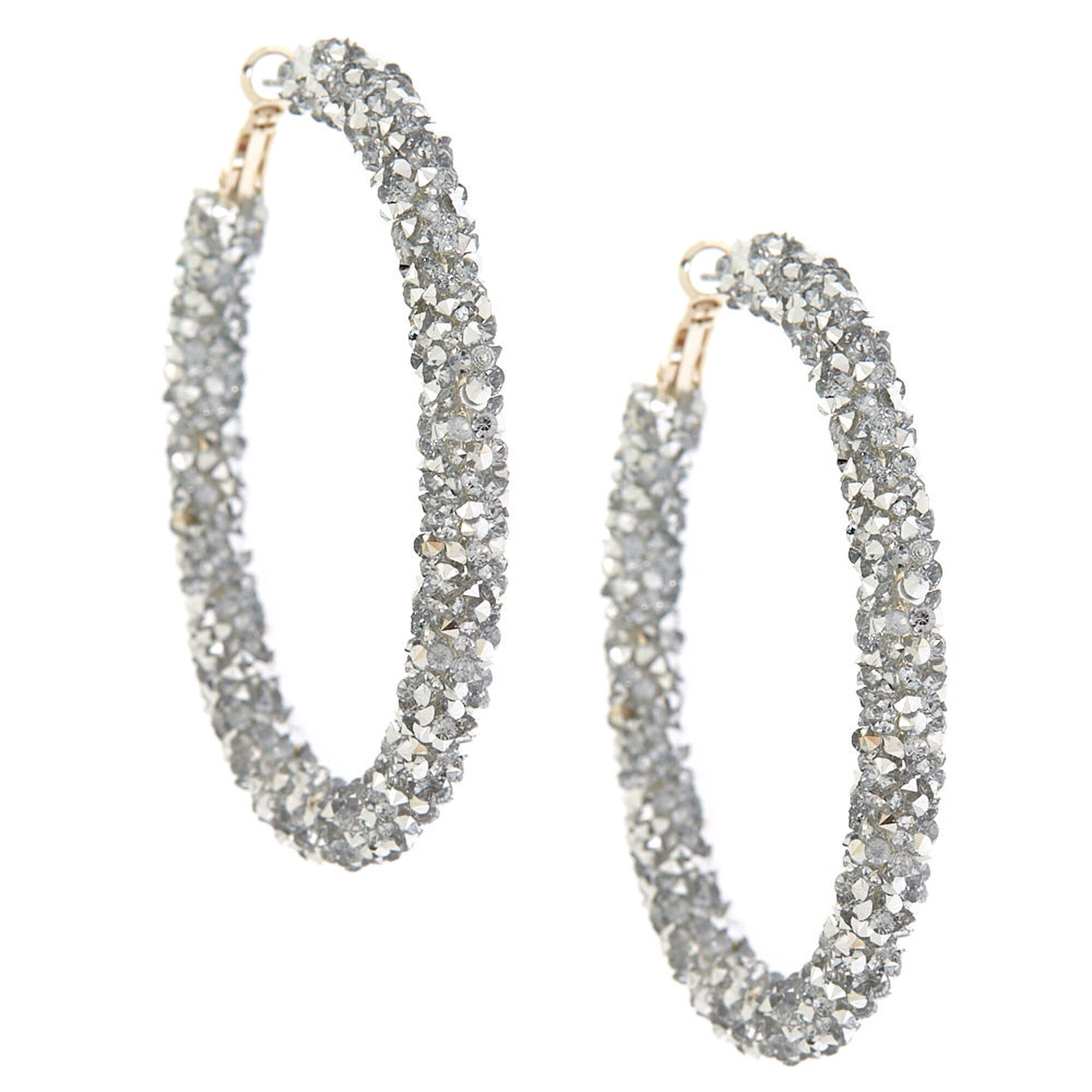 Silver 60mm Crystal Hoop Earrings