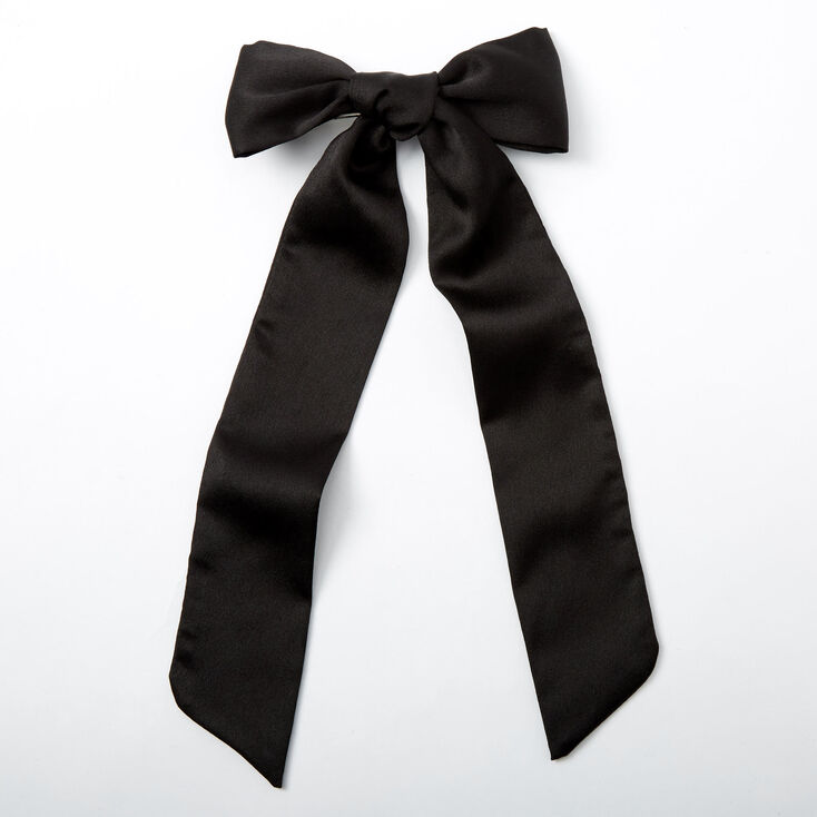 1940s Hair Snoods- Buy, Knit, Crochet or Sew a Snood Icing Satin Bow Hair Barrette - Black $7.99 AT vintagedancer.com