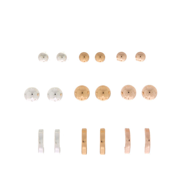 Mixed Metal Earring Set - 9 Pack,