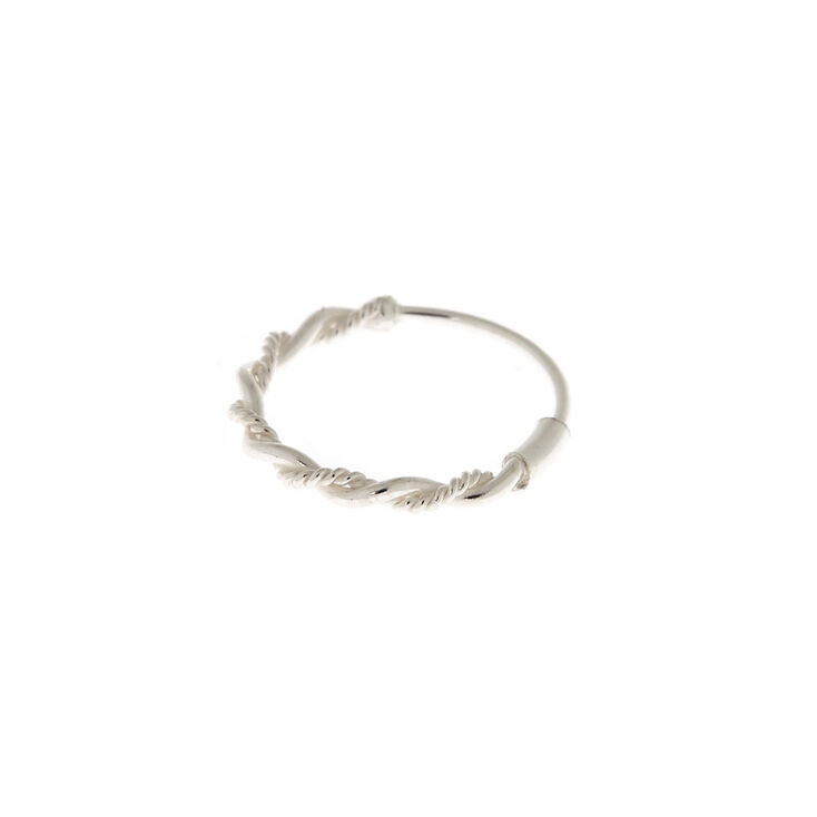 Sterling Silver 22G Braided Chain Nose Ring,