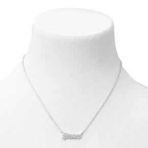 Silver Gothic Zodiac Pendant Necklace - Pisces,