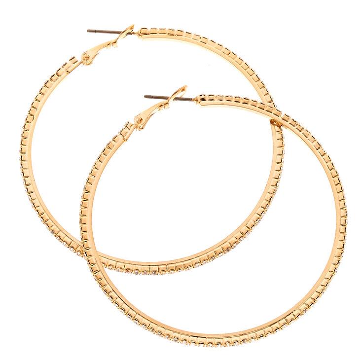 Crystal Studded 50MM Gold Tone Hoop Earrings,