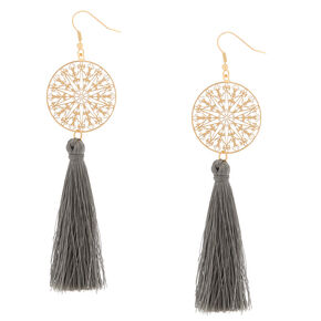 "Filigree Tassel 4"" Drop Earrings - Gray,"