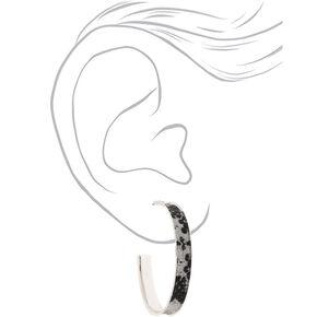 Silver 40MM Glitter Snake Print Hoop Earrings,
